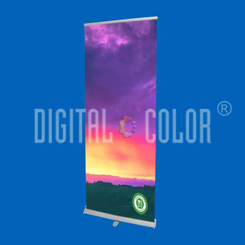Roll Up Gray 0.85x2 mts Retráctil-Easy Pull Banner Stand 01