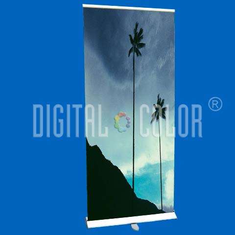 Roll Up Gray 0.85x2 mts Retráctil-Easy Pull Banner Stand 15