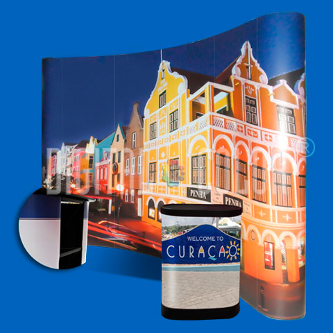 Wall Pop Up 3x4 curved Backing Publicitario Skyline